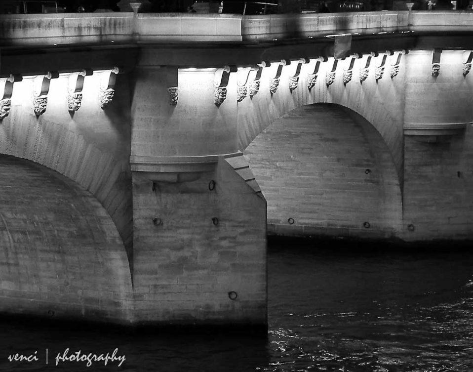 black and white, Seine River, Paris