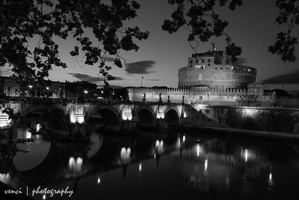 Castel Sant'Angelo, Rome. Italy, black and white