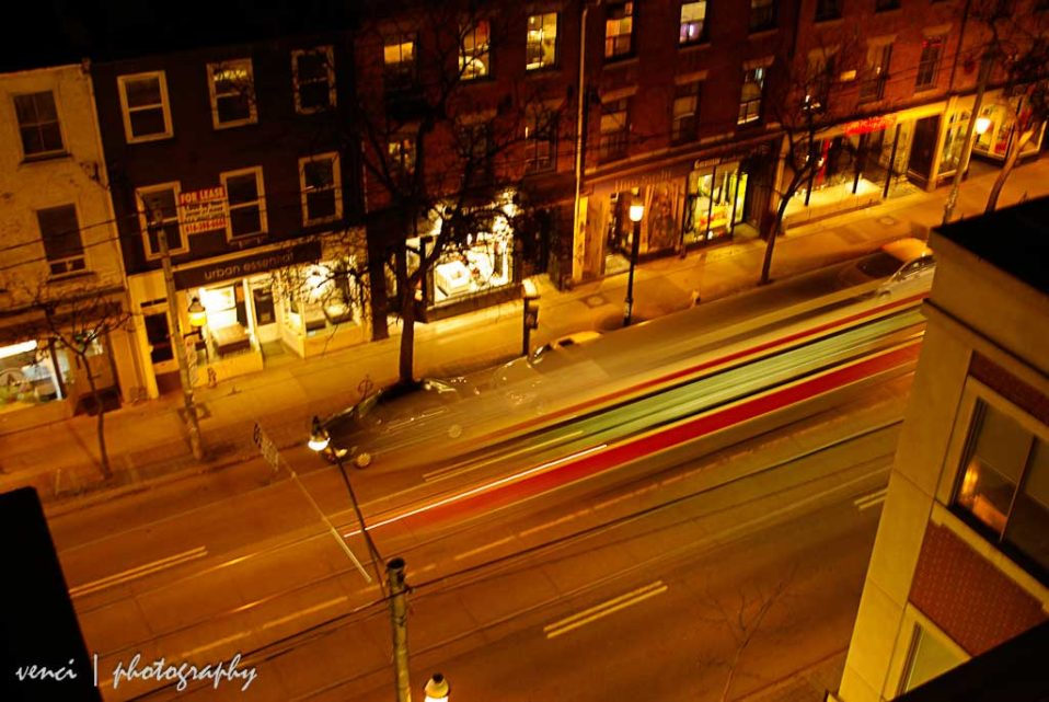 streetcar, night shot Toronto
