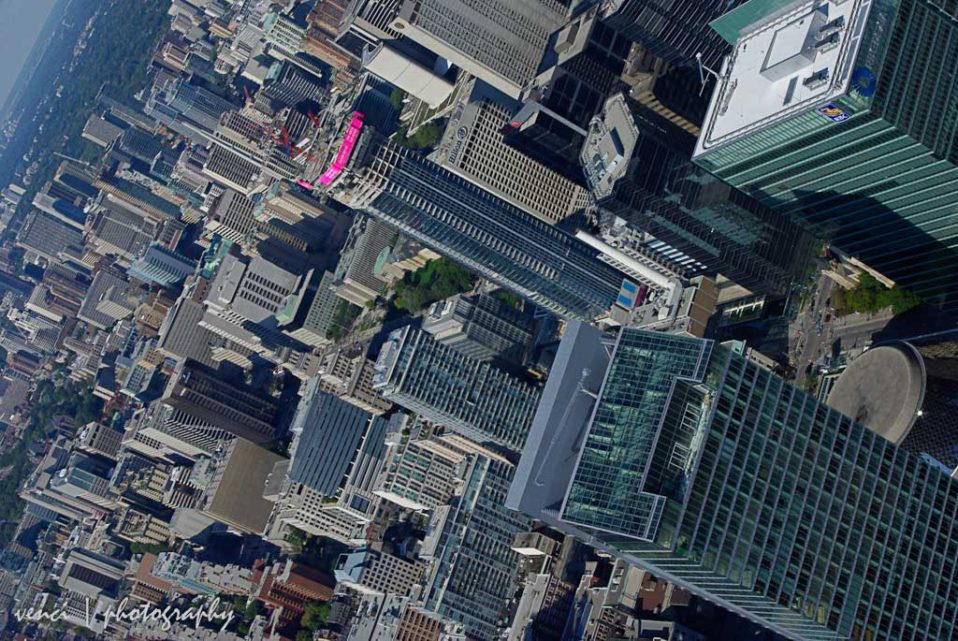 Downtown Toronto from air, helicopter tour
