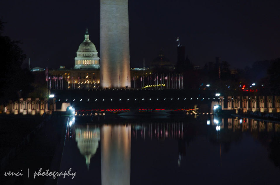 night shot, Capitol and Obelisk