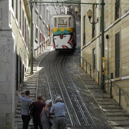 group of tourists, Old tram, Lisbon, Portugal